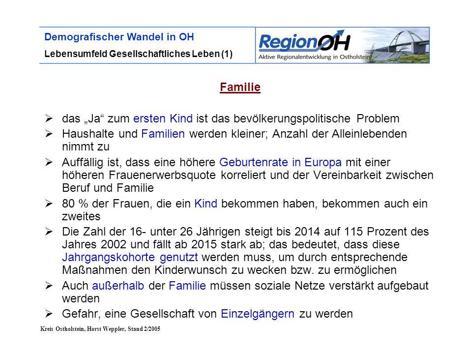 """Kreis Ostholstein, Horst Weppler, Stand 2/2005 Demografischer Wandel in OH Lebensumfeld Gesellschaftliches Leben (1) Familie  das """"Ja"""" zum ersten Kin"""