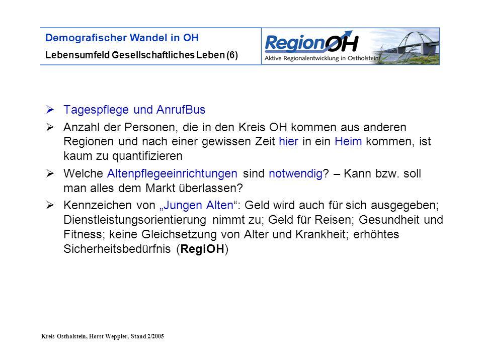 Kreis Ostholstein, Horst Weppler, Stand 2/2005 Demografischer Wandel in OH Lebensumfeld Gesellschaftliches Leben (6)  Tagespflege und AnrufBus  Anza
