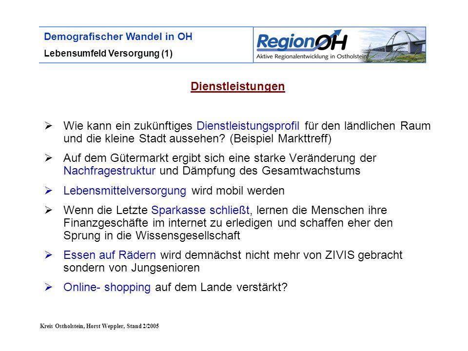 Kreis Ostholstein, Horst Weppler, Stand 2/2005 Demografischer Wandel in OH Lebensumfeld Versorgung (1) Dienstleistungen  Wie kann ein zukünftiges Die