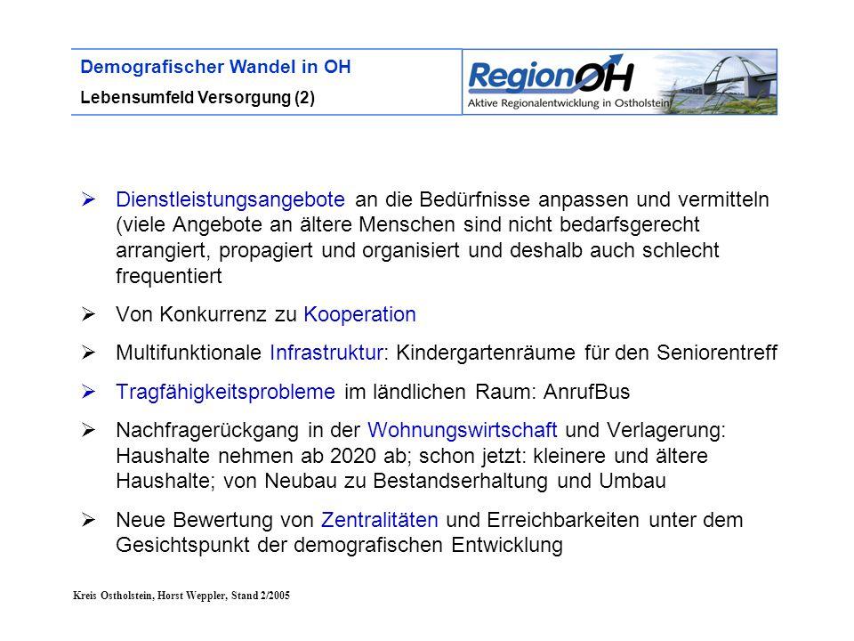 Kreis Ostholstein, Horst Weppler, Stand 2/2005 Demografischer Wandel in OH Lebensumfeld Versorgung (2)  Dienstleistungsangebote an die Bedürfnisse an