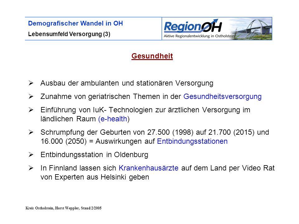 Kreis Ostholstein, Horst Weppler, Stand 2/2005 Demografischer Wandel in OH Lebensumfeld Versorgung (3) Gesundheit  Ausbau der ambulanten und stationä