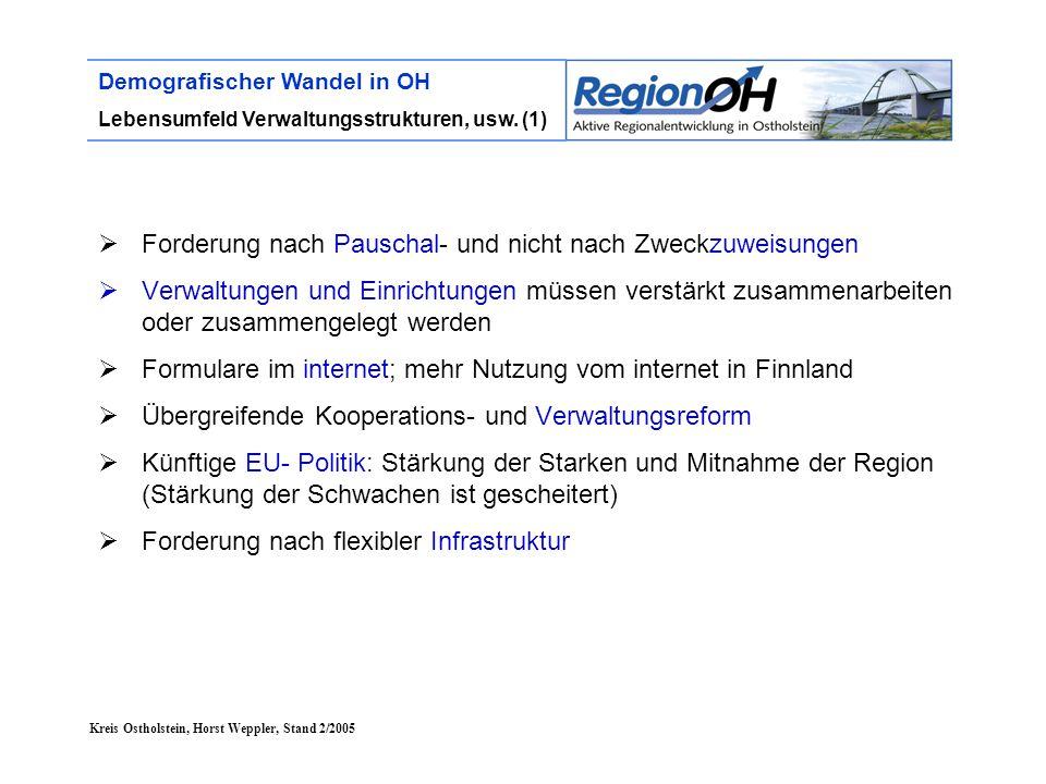 Kreis Ostholstein, Horst Weppler, Stand 2/2005 Demografischer Wandel in OH Lebensumfeld Verwaltungsstrukturen, usw. (1)  Forderung nach Pauschal- und