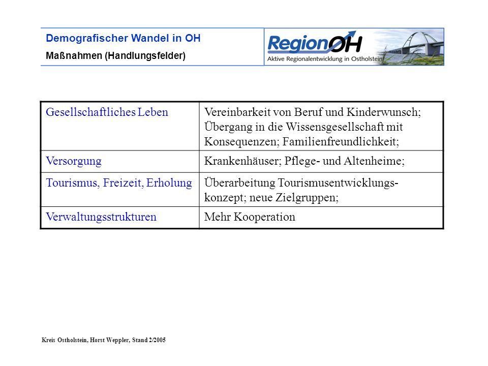 Kreis Ostholstein, Horst Weppler, Stand 2/2005 Demografischer Wandel in OH Maßnahmen (Handlungsfelder) Gesellschaftliches LebenVereinbarkeit von Beruf