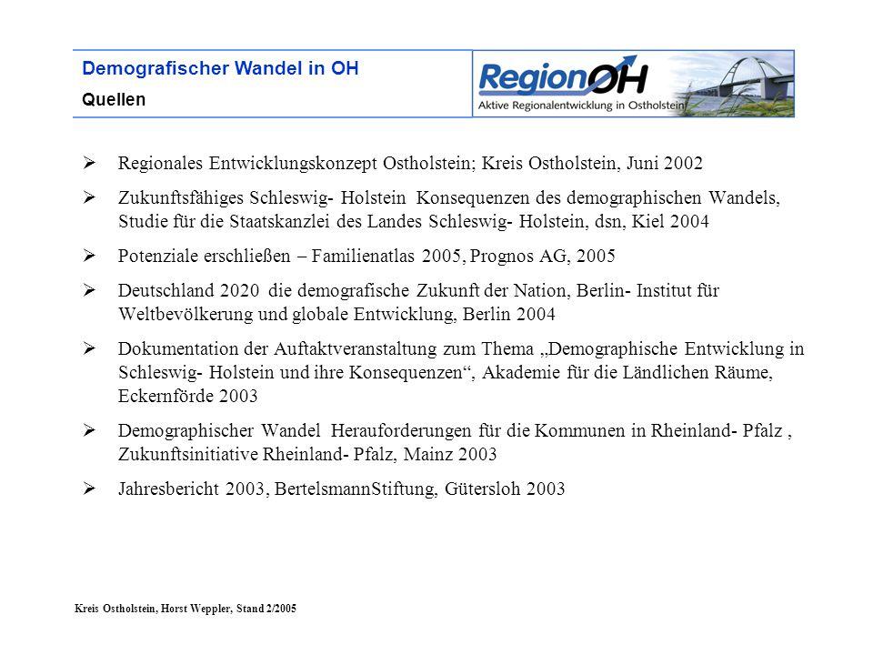 Kreis Ostholstein, Horst Weppler, Stand 2/2005 Demografischer Wandel in OH Quellen  Regionales Entwicklungskonzept Ostholstein; Kreis Ostholstein, Ju