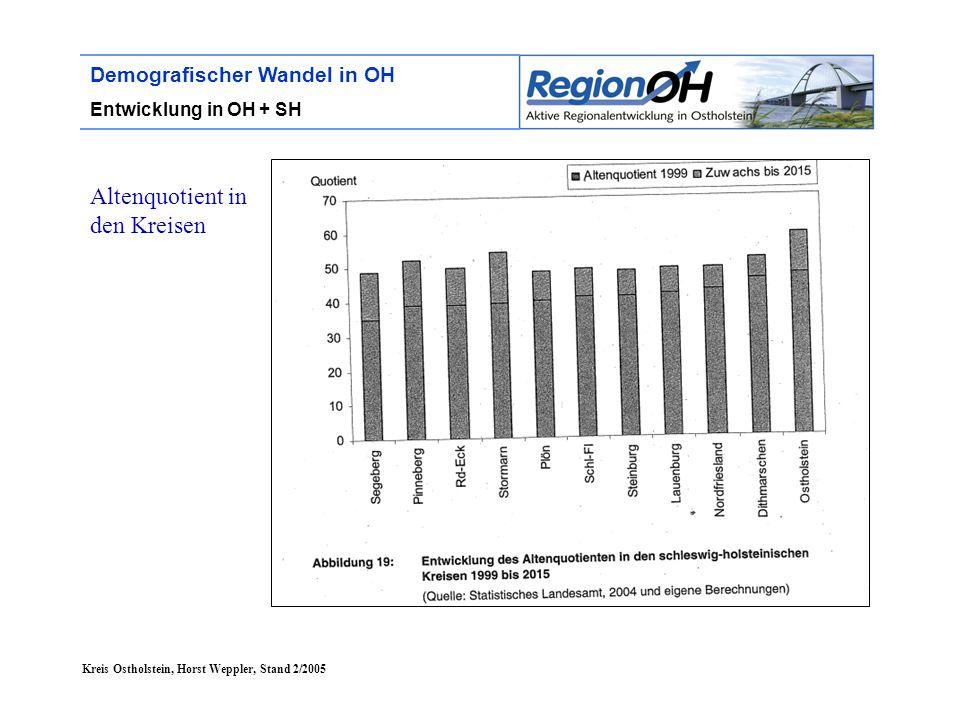 Kreis Ostholstein, Horst Weppler, Stand 2/2005 Demografischer Wandel in OH Lebensumfeld Bildung (4)  Ein durchgängig höheres Bildungsniveau wird notwendig  Förderung der Weiterbildung zur Erhöhung des Qualifizierungsniveaus: besonders: Menschen mit niedriger Qualifikation, ausländische Mitbürger, ältere Personen und Frauen