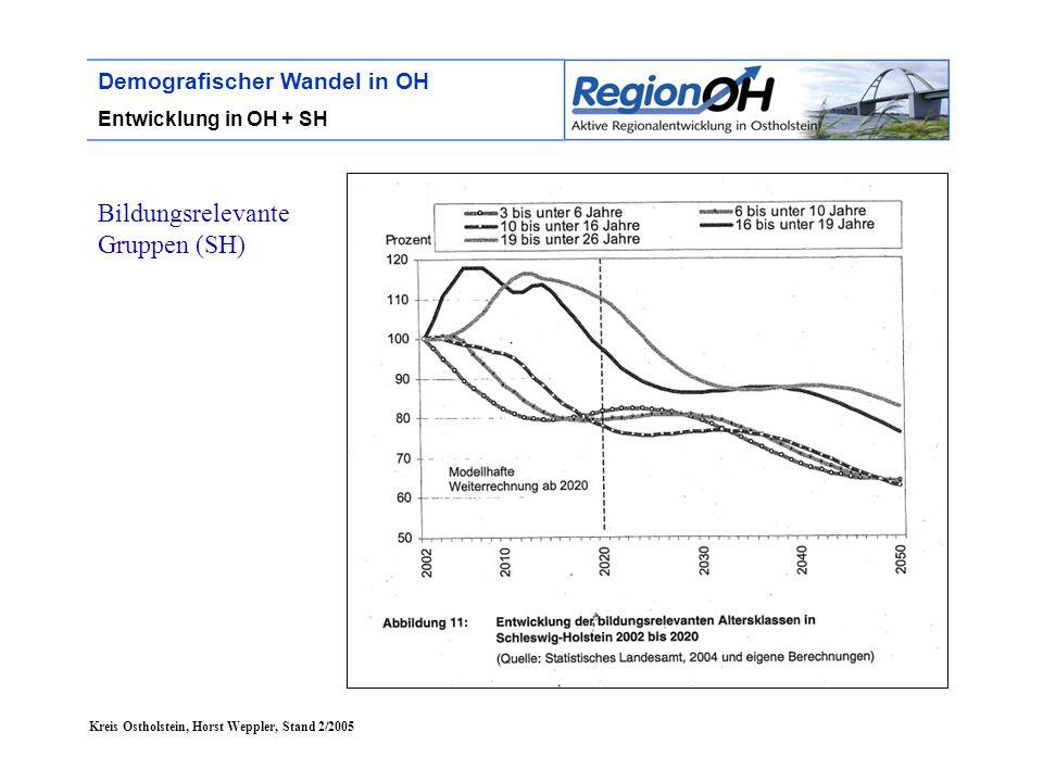 Kreis Ostholstein, Horst Weppler, Stand 2/2005 Demografischer Wandel in OH Lebensumfeld Versorgung (3) Gesundheit  Ausbau der ambulanten und stationären Versorgung  Zunahme von geriatrischen Themen in der Gesundheitsversorgung  Einführung von IuK- Technologien zur ärztlichen Versorgung im ländlichen Raum (e-health)  Schrumpfung der Geburten von 27.500 (1998) auf 21.700 (2015) und 16.000 (2050) = Auswirkungen auf Entbindungsstationen  Entbindungsstation in Oldenburg  In Finnland lassen sich Krankenhausärzte auf dem Land per Video Rat von Experten aus Helsinki geben