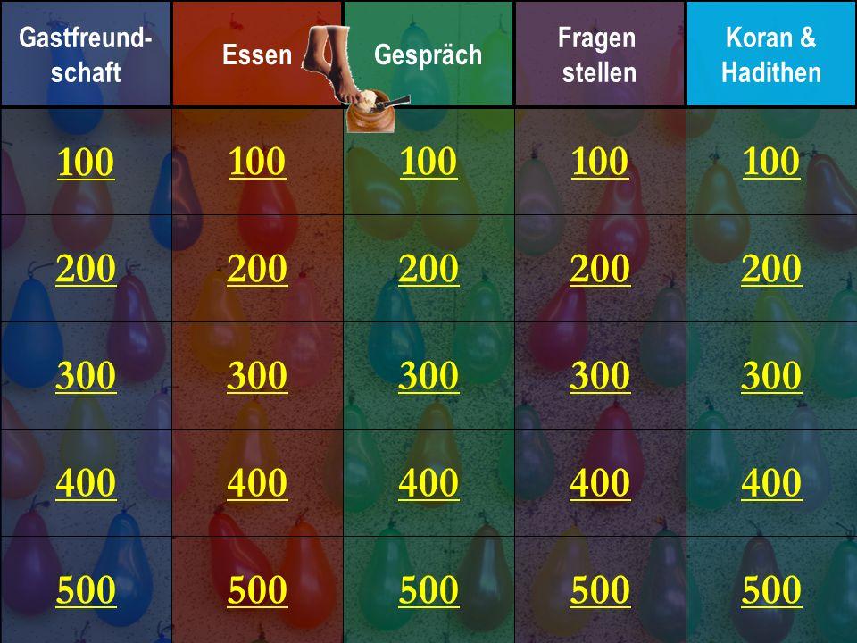 200 300 400 500 100 200 300 400 500 100 200 300 400 500 100 200 300 400 500 100 200 300 400 500 100 Gastfreund- schaft EssenGespräch Fragen stellen Ko
