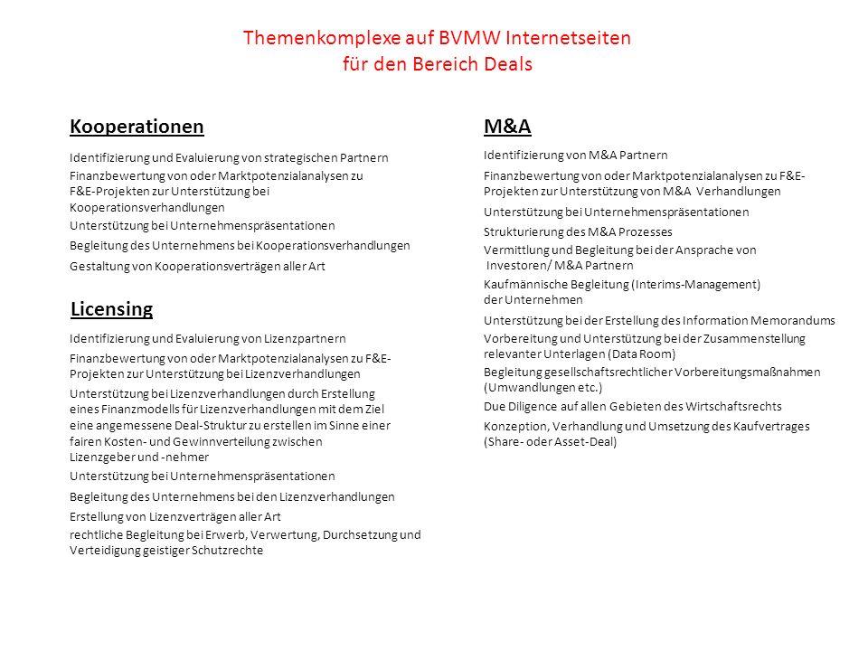 Themenkomplexe auf BVMW Internetseiten für den Bereich Deals Kooperationen Identifizierung und Evaluierung von strategischen Partnern Finanzbewertung von oder Marktpotenzialanalysen zu F&E-Projekten zur Unterstützung bei Kooperationsverhandlungen Unterstützung bei Unternehmenspräsentationen Begleitung des Unternehmens bei Kooperationsverhandlungen Gestaltung von Kooperationsverträgen aller Art Licensing Identifizierung und Evaluierung von Lizenzpartnern Finanzbewertung von oder Marktpotenzialanalysen zu F&E- Projekten zur Unterstützung bei Lizenzverhandlungen Unterstützung bei Lizenzverhandlungen durch Erstellung eines Finanzmodells für Lizenzverhandlungen mit dem Ziel eine angemessene Deal-Struktur zu erstellen im Sinne einer fairen Kosten- und Gewinnverteilung zwischen Lizenzgeber und -nehmer Unterstützung bei Unternehmenspräsentationen Begleitung des Unternehmens bei den Lizenzverhandlungen Erstellung von Lizenzverträgen aller Art rechtliche Begleitung bei Erwerb, Verwertung, Durchsetzung und Verteidigung geistiger Schutzrechte M&A Identifizierung von M&A Partnern Finanzbewertung von oder Marktpotenzialanalysen zu F&E- Projekten zur Unterstützung von M&A Verhandlungen Unterstützung bei Unternehmenspräsentationen Strukturierung des M&A Prozesses Vermittlung und Begleitung bei der Ansprache von Investoren/ M&A Partnern Kaufmännische Begleitung (Interims-Management) der Unternehmen Unterstützung bei der Erstellung des Information Memorandums Vorbereitung und Unterstützung bei der Zusammenstellung relevanter Unterlagen (Data Room) Begleitung gesellschaftsrechtlicher Vorbereitungsmaßnahmen (Umwandlungen etc.) Due Diligence auf allen Gebieten des Wirtschaftsrechts Konzeption, Verhandlung und Umsetzung des Kaufvertrages (Share- oder Asset-Deal)