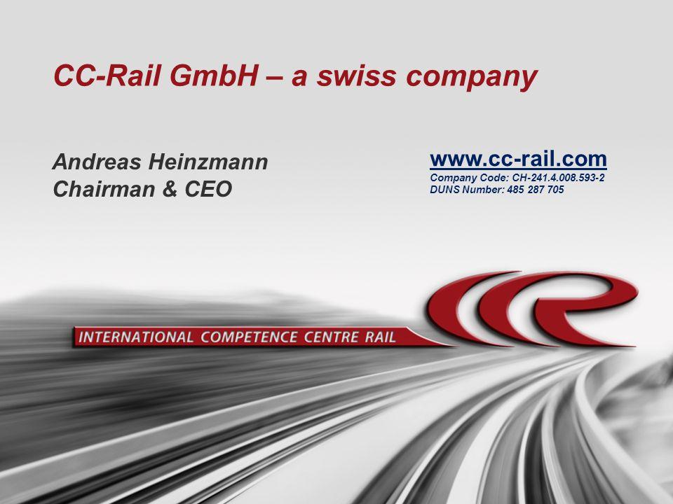 CC-Rail GmbH – a swiss company Andreas Heinzmann Chairman & CEO www.cc-rail.com Company Code: CH-241.4.008.593-2 DUNS Number: 485 287 705