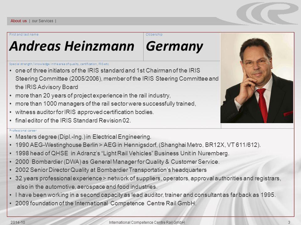 CC-Rail's Senior Consultants Andre Hasler Dr.