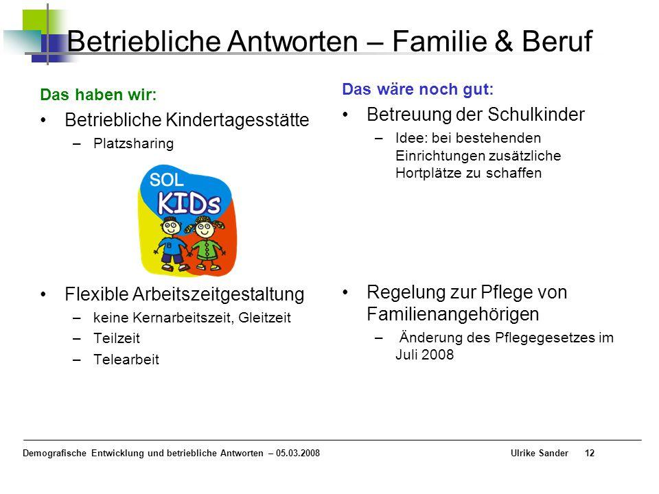 Demografische Entwicklung und betriebliche Antworten – 05.03.2008 Ulrike Sander12 Betriebliche Antworten – Familie & Beruf Das haben wir: Betriebliche