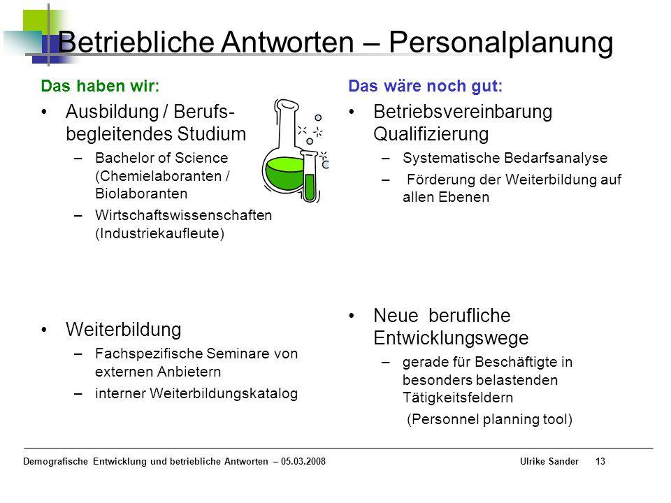 Demografische Entwicklung und betriebliche Antworten – 05.03.2008 Ulrike Sander13 Betriebliche Antworten – Personalplanung Das haben wir: Ausbildung /