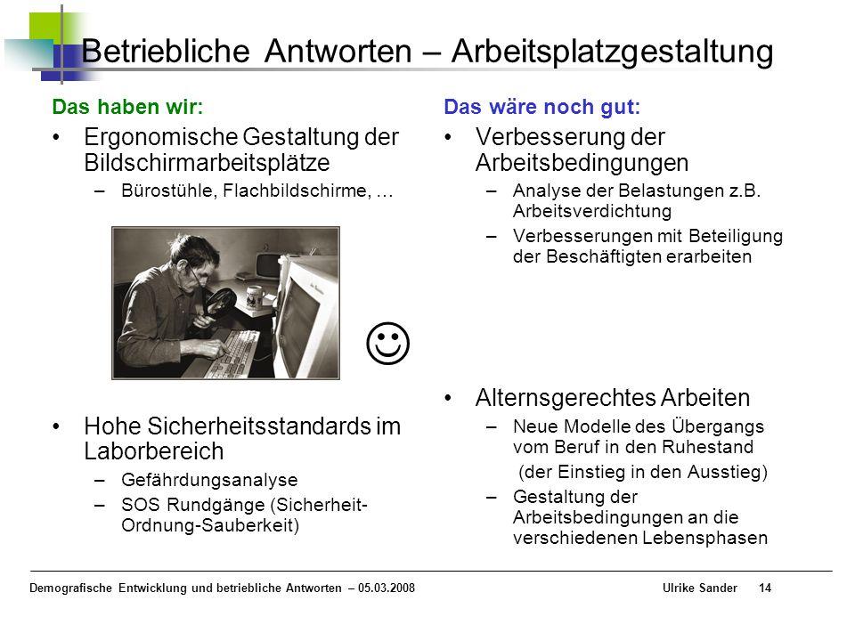 Demografische Entwicklung und betriebliche Antworten – 05.03.2008 Ulrike Sander14 Betriebliche Antworten – Arbeitsplatzgestaltung Das haben wir: Ergon