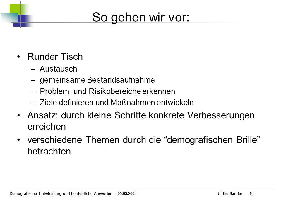 Demografische Entwicklung und betriebliche Antworten – 05.03.2008 Ulrike Sander16 So gehen wir vor: Runder Tisch –Austausch –gemeinsame Bestandsaufnah