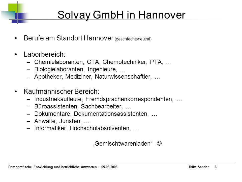 Demografische Entwicklung und betriebliche Antworten – 05.03.2008 Ulrike Sander6 Solvay GmbH in Hannover Berufe am Standort Hannover (geschlechtsneutr
