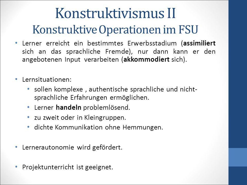 Konstruktivismus II Konstruktive Operationen im FSU Lerner erreicht ein bestimmtes Erwerbsstadium (assimiliert sich an das sprachliche Fremde), nur da