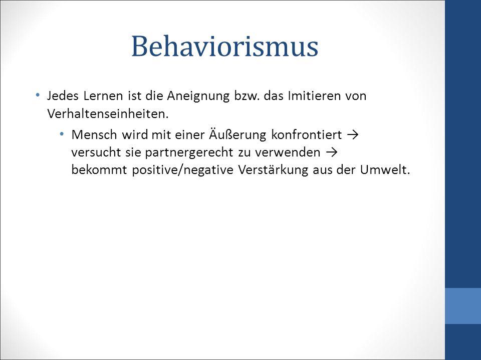 Behaviorismus Jedes Lernen ist die Aneignung bzw. das Imitieren von Verhaltenseinheiten. Mensch wird mit einer Äußerung konfrontiert → versucht sie pa