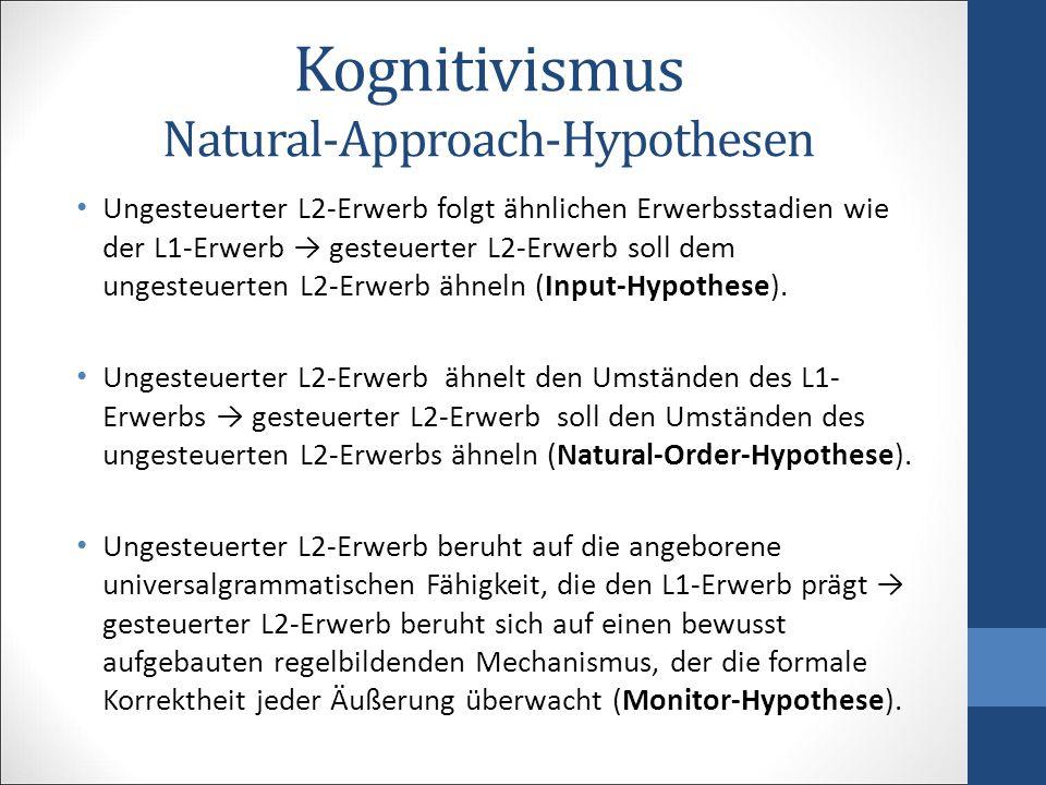 Kognitivismus Natural-Approach-Hypothesen Ungesteuerter L2-Erwerb folgt ähnlichen Erwerbsstadien wie der L1-Erwerb → gesteuerter L2-Erwerb soll dem un