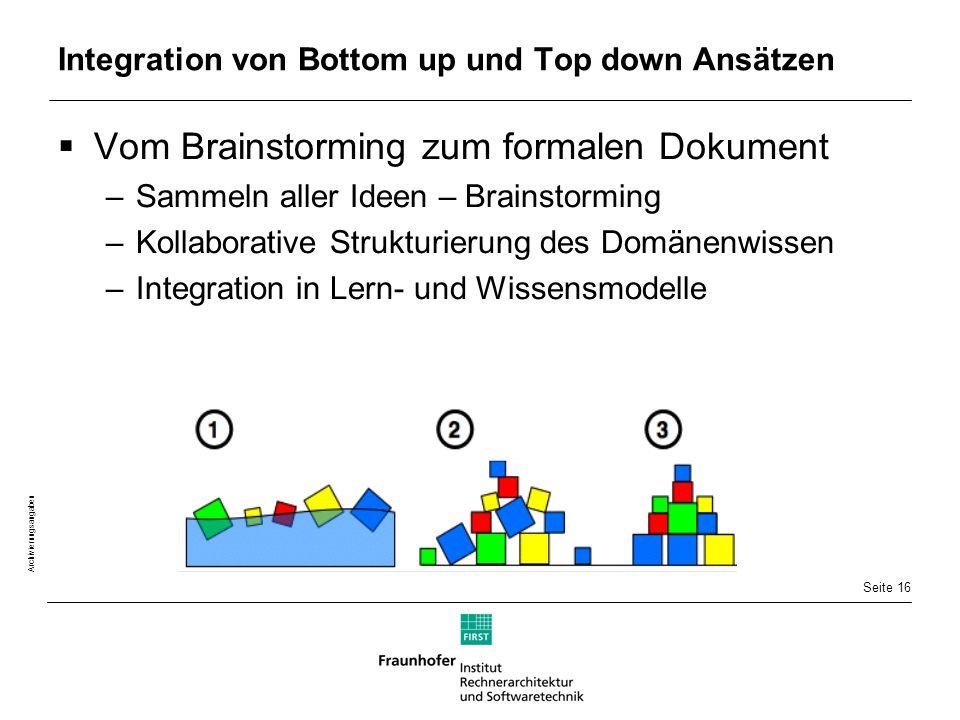 Seite 16 Archivierungsangaben Integration von Bottom up und Top down Ansätzen  Vom Brainstorming zum formalen Dokument –Sammeln aller Ideen – Brainstorming –Kollaborative Strukturierung des Domänenwissen –Integration in Lern- und Wissensmodelle