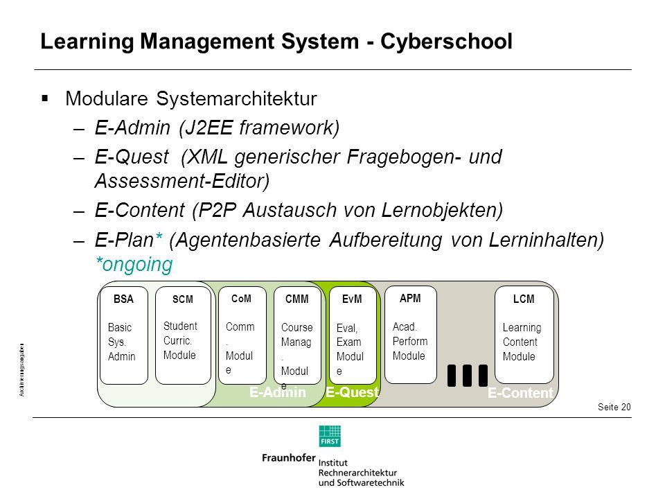Seite 20 Archivierungsangaben Learning Management System - Cyberschool  Modulare Systemarchitektur –E-Admin (J2EE framework) –E-Quest (XML generischer Fragebogen- und Assessment-Editor) –E-Content (P2P Austausch von Lernobjekten) –E-Plan* (Agentenbasierte Aufbereitung von Lerninhalten) *ongoing CoM Comm.