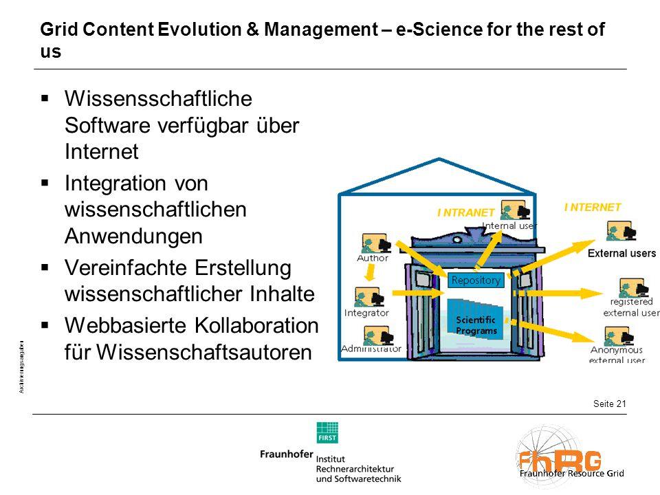 Seite 21 Archivierungsangaben Grid Content Evolution & Management – e-Science for the rest of us  Wissensschaftliche Software verfügbar über Internet  Integration von wissenschaftlichen Anwendungen  Vereinfachte Erstellung wissenschaftlicher Inhalte  Webbasierte Kollaboration für Wissenschaftsautoren
