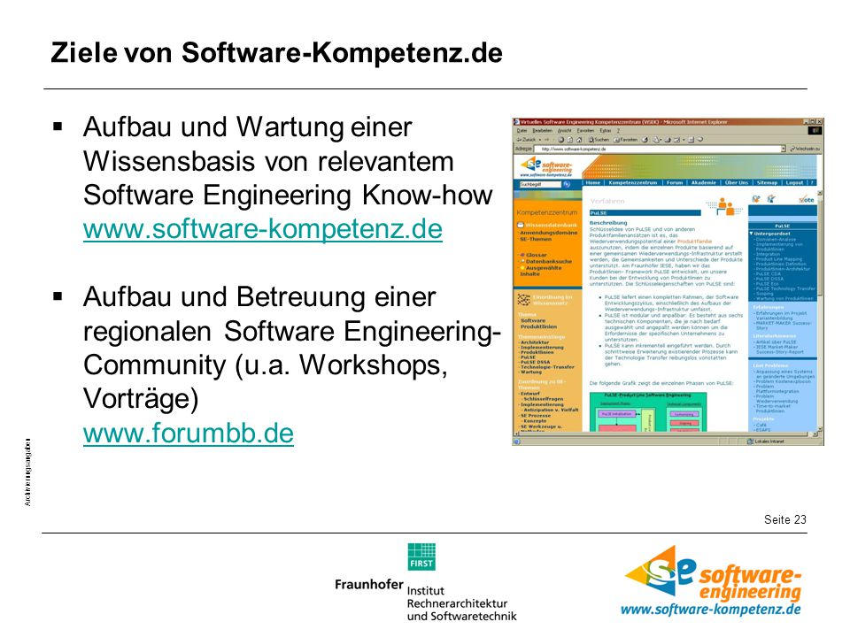 Seite 23 Archivierungsangaben Ziele von Software-Kompetenz.de  Aufbau und Wartung einer Wissensbasis von relevantem Software Engineering Know-how www.software-kompetenz.de www.software-kompetenz.de  Aufbau und Betreuung einer regionalen Software Engineering- Community (u.a.
