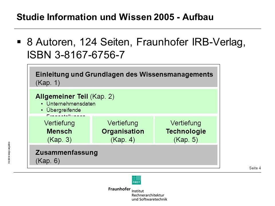 Seite 4 Archivierungsangaben Studie Information und Wissen 2005 - Aufbau  8 Autoren, 124 Seiten, Fraunhofer IRB-Verlag, ISBN 3-8167-6756-7 Allgemeiner Teil (Kap.