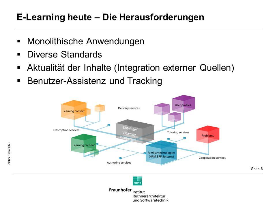 Seite 8 Archivierungsangaben E-Learning heute – Die Herausforderungen  Monolithische Anwendungen  Diverse Standards  Aktualität der Inhalte (Integration externer Quellen)  Benutzer-Assistenz und Tracking