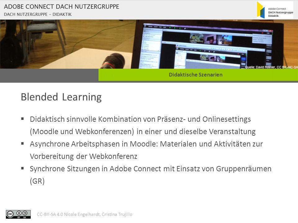 CC-BY-SA 4.0 Nicole Engelhardt, Cristina Trujillo Didaktische Szenarien Blended Learning  Didaktisch sinnvolle Kombination von Präsenz- und Onlineset