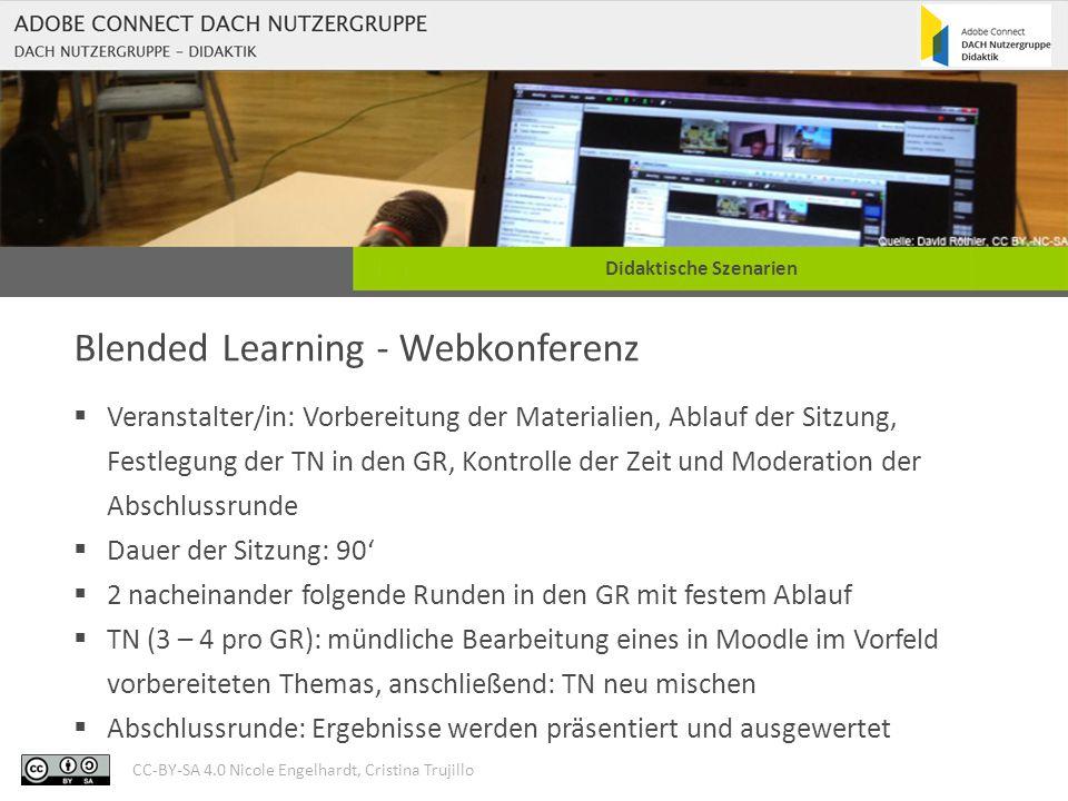 CC-BY-SA 4.0 Nicole Engelhardt, Cristina Trujillo Didaktische Szenarien Blended Learning - Webkonferenz  Veranstalter/in: Vorbereitung der Materialie