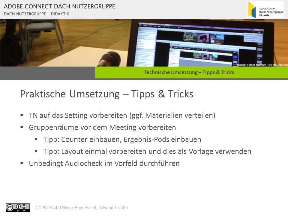 CC-BY-SA 4.0 Nicole Engelhardt, Cristina Trujillo Technische Umsetzung – Tipps & Tricks Praktische Umsetzung – Tipps & Tricks  TN-Zuweisung zu GR ggf.