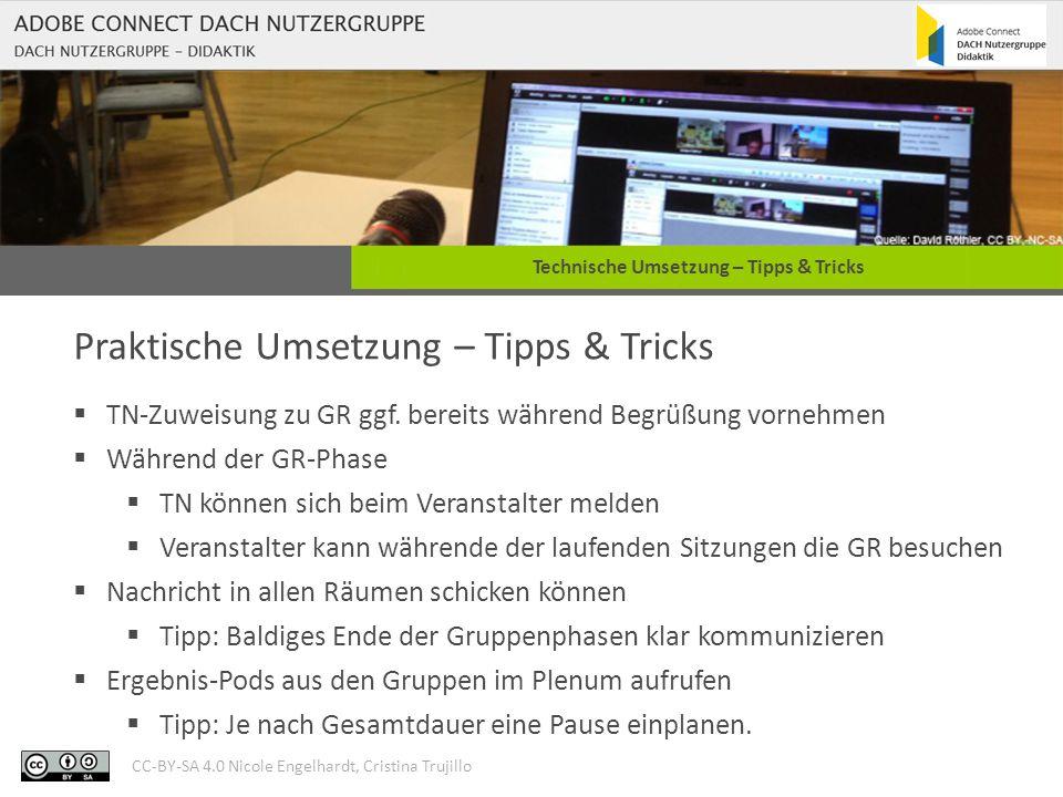 CC-BY-SA 4.0 Nicole Engelhardt, Cristina Trujillo Technische Umsetzung – Tipps & Tricks Praktische Umsetzung – Tipps & Tricks  TN-Zuweisung zu GR ggf