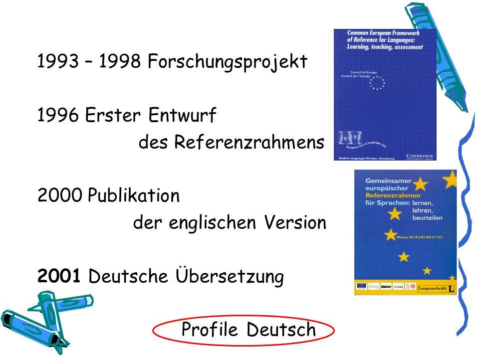 1993 – 1998 Forschungsprojekt 1996 Erster Entwurf des Referenzrahmens 2000 Publikation der englischen Version 2001 Deutsche Übersetzung Profile Deutsch