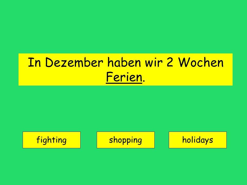 In Dezember haben wir 2 Wochen Ferien. fighting shoppingholidays