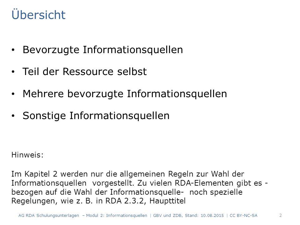 Übersicht Bevorzugte Informationsquellen Teil der Ressource selbst Mehrere bevorzugte Informationsquellen Sonstige Informationsquellen Hinweis: Im Kap