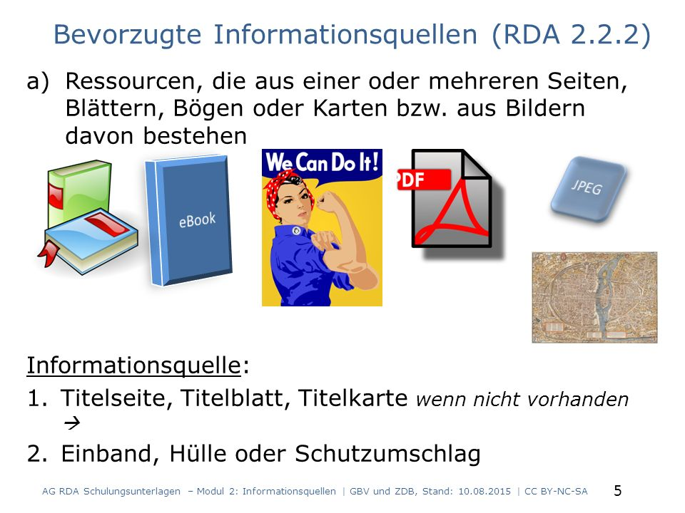 a)Ressourcen, die aus einer oder mehreren Seiten, Blättern, Bögen oder Karten bzw. aus Bildern davon bestehen Informationsquelle: 1.Titelseite, Titelb