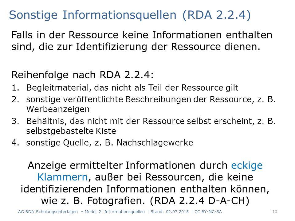 Falls in der Ressource keine Informationen enthalten sind, die zur Identifizierung der Ressource dienen.