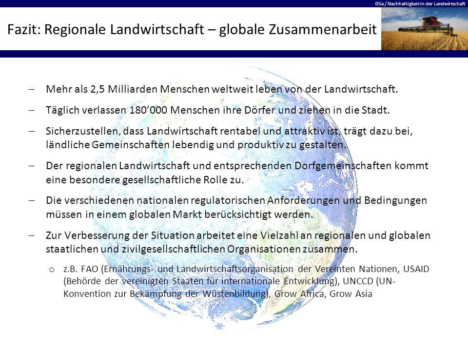 05a / Nachhaltigkeit in der Landwirtschaft Fazit: Regionale Landwirtschaft – globale Zusammenarbeit  Mehr als 2,5 Milliarden Menschen weltweit leben von der Landwirtschaft.
