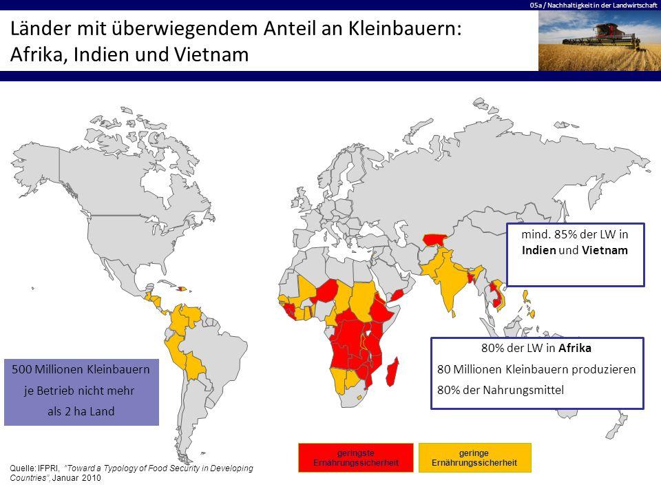 05a / Nachhaltigkeit in der Landwirtschaft Länder mit überwiegendem Anteil an Kleinbauern: Afrika, Indien und Vietnam geringe Ernährungssicherheit geringste Ernährungssicherheit mind.