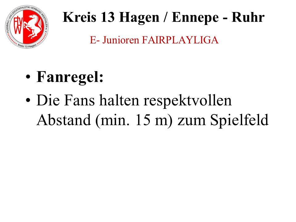 Kreis 13 Hagen / Ennepe - Ruhr Fanregel: Die Fans halten respektvollen Abstand (min. 15 m) zum Spielfeld E- Junioren FAIRPLAYLIGA