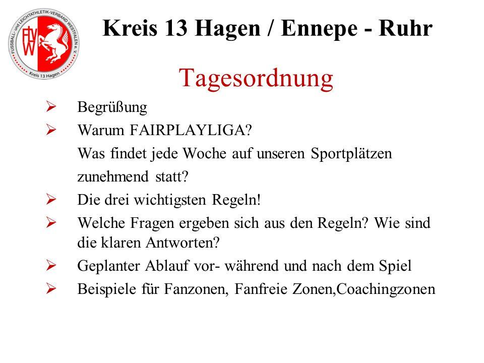 Kreis 13 Hagen / Ennepe - Ruhr Tagesordnung  Begrüßung  Warum FAIRPLAYLIGA? Was findet jede Woche auf unseren Sportplätzen zunehmend statt?  Die dr
