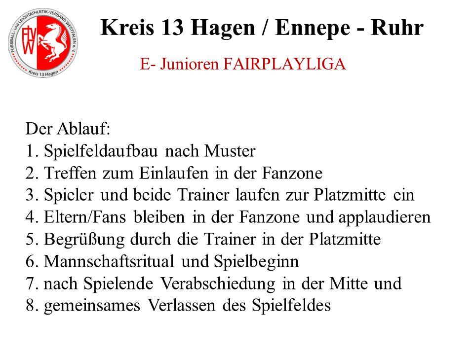Kreis 13 Hagen / Ennepe - Ruhr E- Junioren FAIRPLAYLIGA Der Ablauf: 1. Spielfeldaufbau nach Muster 2. Treffen zum Einlaufen in der Fanzone 3. Spieler