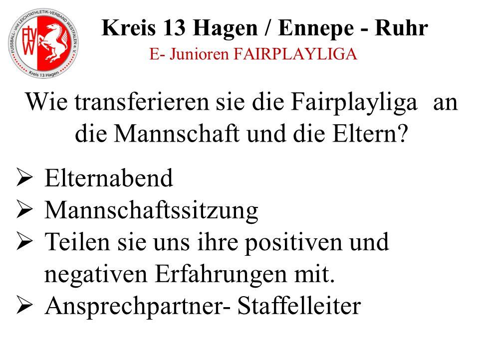 Kreis 13 Hagen / Ennepe - Ruhr E- Junioren FAIRPLAYLIGA  Elternabend  Mannschaftssitzung  Teilen sie uns ihre positiven und negativen Erfahrungen m