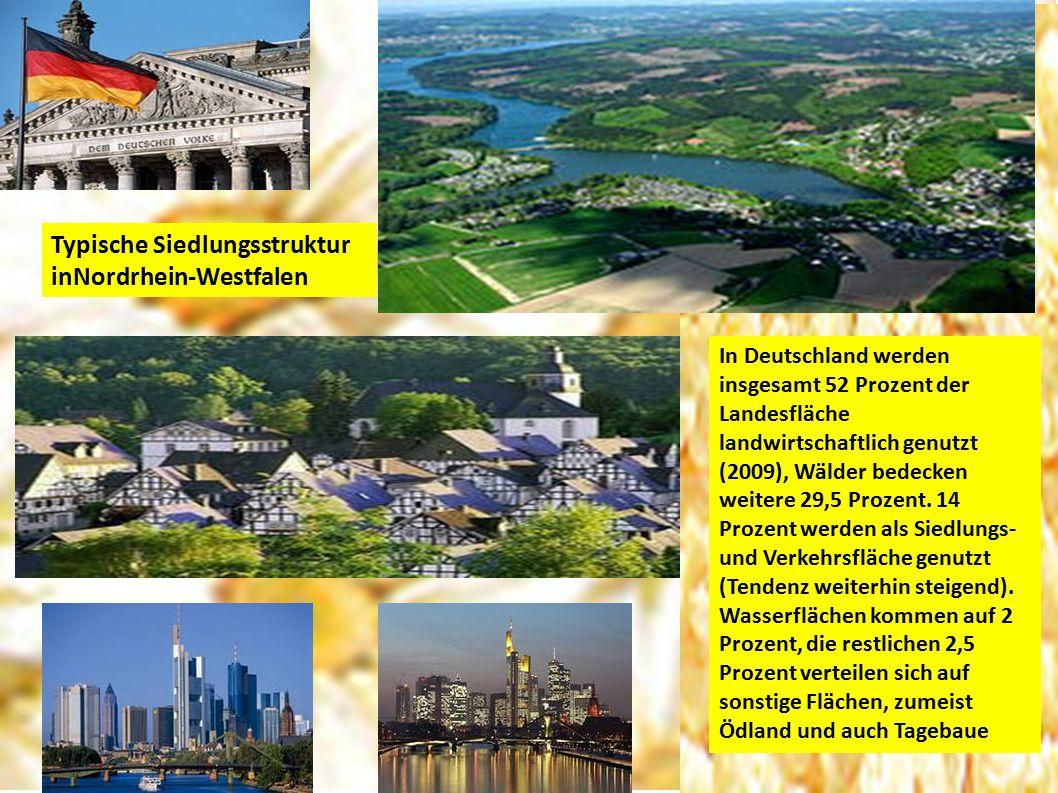 Typische Siedlungsstruktur inNordrhein-Westfalen In Deutschland werden insgesamt 52 Prozent der Landesfläche landwirtschaftlich genutzt (2009), Wälder