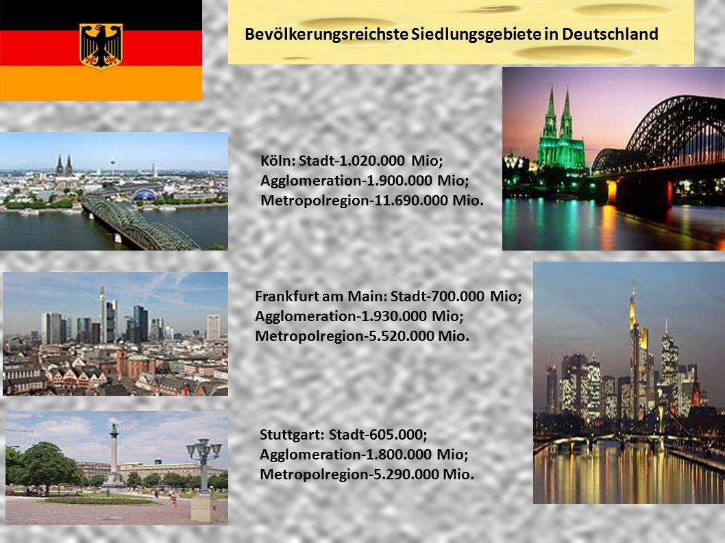 Bevölkerungsreichste Siedlungsgebiete in Deutschland Köln: Stadt-1.020.000 Mio; Agglomeration-1.900.000 Mio; Metropolregion-11.690.000 Mio. Frankfurt