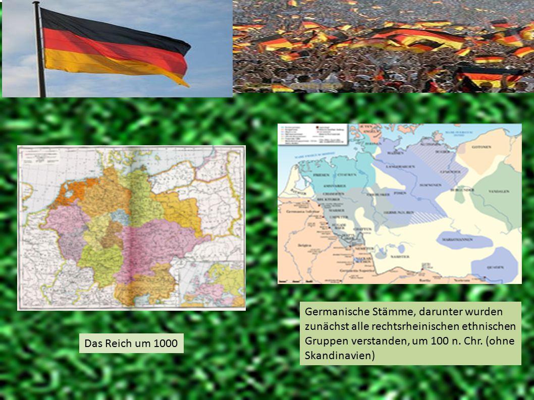 Germanische Stämme, darunter wurden zunächst alle rechtsrheinischen ethnischen Gruppen verstanden, um 100 n. Chr. (ohne Skandinavien) Das Reich um 100