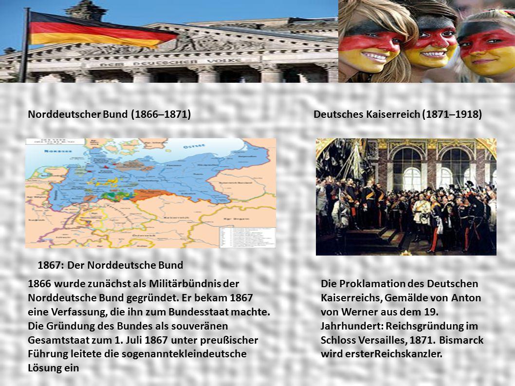 Norddeutscher Bund (1866–1871) 1867: Der Norddeutsche Bund 1866 wurde zunächst als Militärbündnis der Norddeutsche Bund gegründet.
