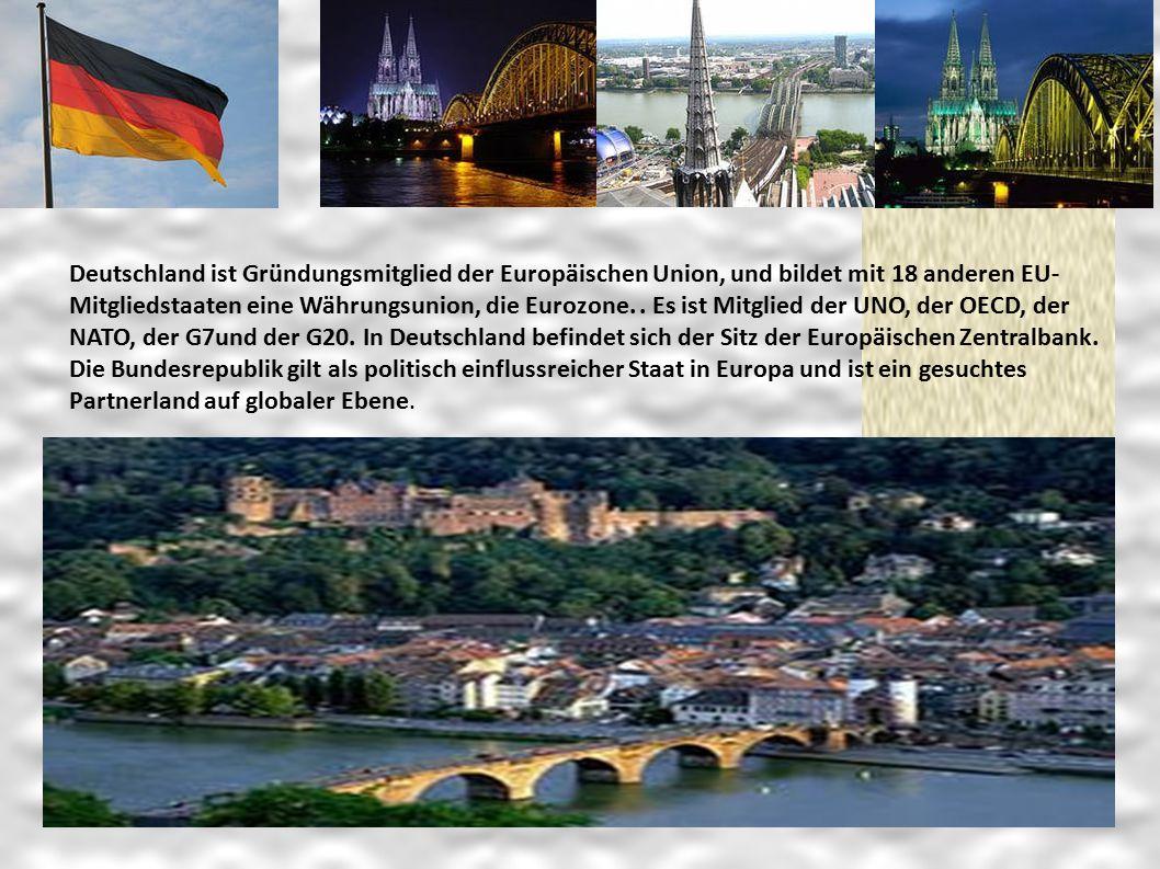Deutschland ist Gründungsmitglied der Europäischen Union, und bildet mit 18 anderen EU- Mitgliedstaaten eine Währungsunion, die Eurozone.. Es ist Mitg