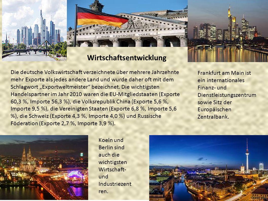 Wirtschaftsentwicklung Frankfurt am Main ist ein internationales Finanz- und Dienstleistungszentrum sowie Sitz der Europäischen Zentralbank. Die deuts