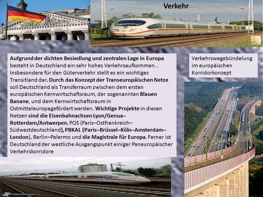 Aufgrund der dichten Besiedlung und zentralen Lage in Europa besteht in Deutschland ein sehr hohes Verkehrsaufkommen..
